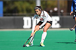 DURHAM, NC - NOVEMBER 11: Miami's Estel Roig (ESP). The Duke University Blue Devils hosted the Miami University (Ohio) Redhawks on November 11, 2017 at Jack Katz Stadium in Durham, NC in an NCAA Division I Field Hockey Tournament First Round game. Duke won the game 4-2.