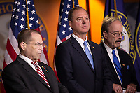 House Judiciary Committee Chairman Jerrold Nadler (Democrat of New York), Intelligence Committee Chairman Adam Schiff (Democrat of California), and Foreign Affairs Committee Chairman Eliot Engel (Democrat of New York) attend a press conference on Capitol Hill in Washington D.C., U.S. on June 11, 2019.  The press conference followed a House vote, where lawmakers passed a bill which allows the House Judiciary Committee to call on Federal judges to enforce Congressional subpoenas. Photo Credit: Stefani Reynolds/CNP/AdMedia