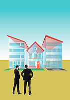 Two businessmen talking at transparent houses