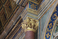 Capital with angel heads in the nave of the Chapelle Haute Saint-Saturnin, begun 1540s under Francois I and decorated by Philippe Delorme, at the Chateau de Fontainebleau, France. The chapel was built with 2 storeys, the upper section for the use of royalty. The Palace of Fontainebleau is one of the largest French royal palaces and was begun in the early 16th century for Francois I. It was listed as a UNESCO World Heritage Site in 1981. Picture by Manuel Cohen