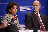 Washington, DC - February 19, 2016: Gov. Gina Raimondo of Rhode Island participates in a panel discussion on climate and clean energy at the Center for American Progress in the District of Columbia, February 19, 2016, as Gov. Tom Wolf of Pennsylvania looks on. (Photo by Don Baxter/Media Images International)