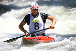 06.07.2013 La Seu D'Urgell, Spain. ICF Canoe Slalom World Cup. Picture show Ander Elosegi (ESP) in action during canoe single C1 men Final at Parc Olimpic del Segre