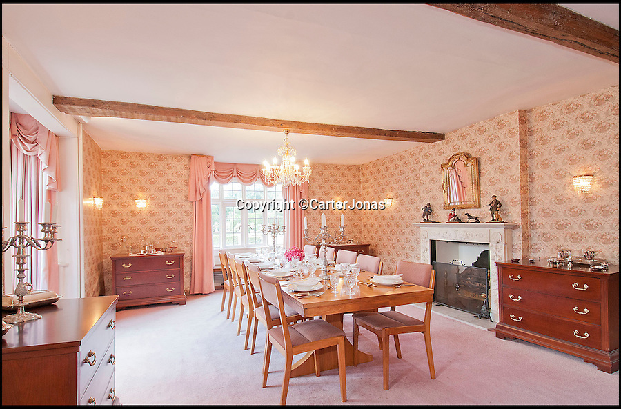 BNPS.co.uk (01202 558833)<br /> Pic: CarterJonas/BNPS<br /> <br /> ***Please Use Full Byline***<br /> <br /> The Dining room in Little Easton manor. <br /> <br /> <br /> One of Britain's most historic country houses which boasts a theatre that has played host to Charlie Chaplin and H.G. Wells has gone on the market with a £5 million price tag.<br /> <br /> In the early 1900s the sprawling estate's tithe barn was transformed into a theatre in which the great and the good of the acting world flocked to perform.<br /> <br /> Edwardian actress Ellen Terry gave poetry readings there while War of the Worlds author H.G. Wells, who lived with his family in a house on the estate, also frequented the theatre.<br /> <br /> Other regular performers included Charlie Chaplin, Gracie Fields and George Formby.<br /> <br /> In more recent years it has welcomed famous faces such as Rowan Atkinson, Bill Cotton, Tim Rice, Esther Rantzen and even the cast of Eastenders.<br /> <br /> The 17th century Grade II listed manor is on the market with Carter Jonas estate agents for £5 million.