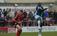 Adebayo Akinfenwa of Wycombe Wanderers heads the ball in goal to score against Morecambe during the Sky Bet League 2 match between Morecambe and Wycombe Wanderers at the Globe Arena, Morecambe, England on 29 April 2017. Photo by Stephen Gaunt / PRiME Media Images.
