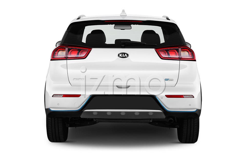 Straight rear view of a 2018 KIA Niro Plug-in Hybrid Sense 5 Door SUV stock images