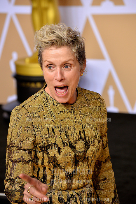 Frances McDormand at the 90th Academy Awards Awards at the Dolby Theartre, Hollywood, USA 04 March 2018<br /> Picture: Paul Smith/Featureflash/SilverHub 0208 004 5359 sales@silverhubmedia.com