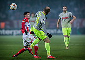 7th December 2017, Rajko Mitic Stadium, Belgrade, Serbia, UEFA Europa League football, Red Star Belgrade versus FC Cologne; Midfielder Slavoljub Srnic of Red Star Belgrade challenges Defender Konstantin Rausch of FC Koeln