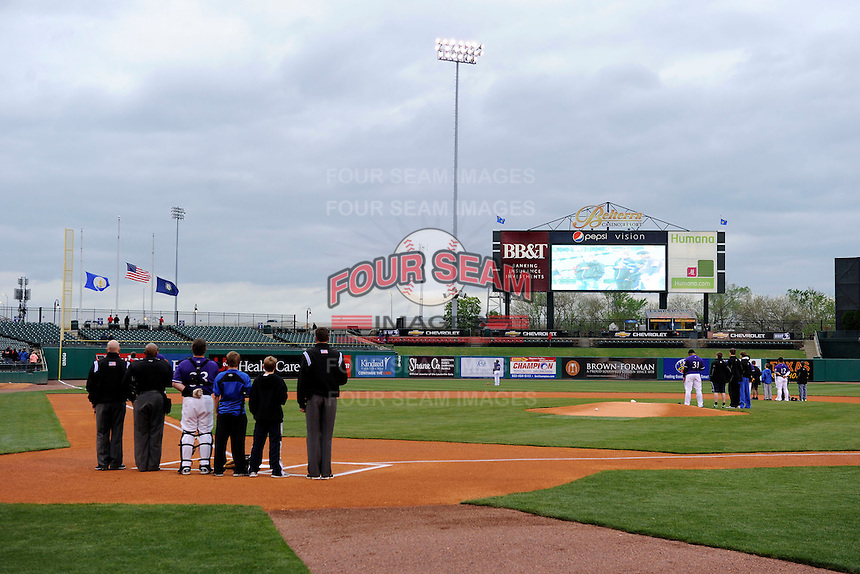 National anthem before a game between the Louisville Bats and Indianapolis Indians on April 19, 2013 at Louisville Slugger Field in Louisville, Kentucky.  Indianapolis defeated Louisville 4-1.  (Mike Janes/Four Seam Images)