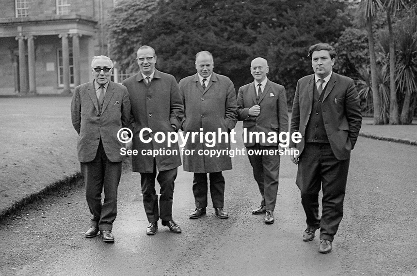 A cross-party deputation of members of the N Ireland Parliament leaving Government House, Hillsborough, after petitioning the Governor to withhold Royal Assent from the recent Public Order Bill. 29th January 1970. Left to right - Gerry Lennon, Senator, Nationalist Party; Gerry Fitt, MP, Leader, SDLP; James O'Reilly, MP, Nationalist Party, Vivian Simpson, MP, N Ireland Labour Party; and John Hume, MP &amp; deputy leader, SDLP. 197001290031<br />