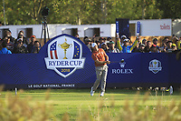 Alex Noren (Team Europe) on the 14th tee during Saturday Foursomes at the Ryder Cup, Le Golf National, Ile-de-France, France. 29/09/2018.<br /> Picture Thos Caffrey / Golffile.ie<br /> <br /> All photo usage must carry mandatory copyright credit (&copy; Golffile | Thos Caffrey)