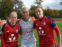20181027 - CAMPHIN-EN-PEVELE , FRANCE : Belgian players in this game with LOSC's Silke Demeyere (L) and Maud Coutereels (L) with Montpellier's Janice Cayman (M) pictured during the 8 th competition game between the women teams of Lille OSC and Montpellier Herault Sporting Club in the 2018-2019 season of the first Division - Ligue 1 at Domaine de Luchin , Saturday 27th Octobre 2018 ,  PHOTO Dirk Vuylsteke   Sportpix.Be