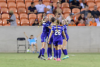 Houston, TX - Saturday Sept. 03, 2016: Dani Weatherholt, Alex Morgan celebrates scoring, Kristen Edmonds, Samantha Witteman, Camille Levin during a regular season National Women's Soccer League (NWSL) match between the Houston Dash and the Orlando Pride at BBVA Compass Stadium.