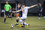 Brad Dunwell (12) of the Wake Forest Demon Deacons battles for the ball with Joshua Gaspari (5) of the Pitt Panthers during first half action at Spry Soccer Stadium on September 16, 2017 in Winston-Salem, North Carolina.  The Demon Deacons defeated the Panthers 2-0.  (Brian Westerholt/Sports On Film)