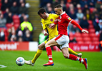 Fleetwood Town's Ashley Nadesan vies for possession with Barnsley's Jordan Williams<br /> <br /> Photographer Richard Martin-Roberts/CameraSport<br /> <br /> The EFL Sky Bet League One - Barnsley v Fleetwood Town - Saturday 13th April 2019 - Oakwell - Barnsley<br /> <br /> World Copyright &not;&copy; 2019 CameraSport. All rights reserved. 43 Linden Ave. Countesthorpe. Leicester. England. LE8 5PG - Tel: +44 (0) 116 277 4147 - admin@camerasport.com - www.camerasport.com