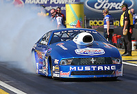 Feb. 22, 2013; Chandler, AZ, USA; NHRA pro stock driver Larry Morgan during qualifying for the Arizona Nationals at Firebird International Raceway. Mandatory Credit: Mark J. Rebilas-