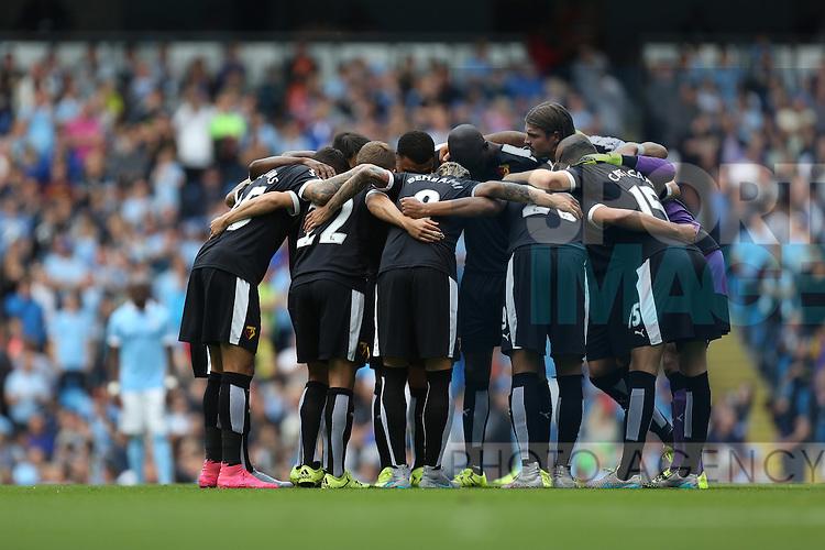 Watford team huddle - Manchester City vs Watford - Barclay's Premier League - Etihad Stadium - Manchester - 29/08/2015 Pic Philip Oldham/SportImage