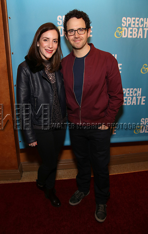 Jessica Hershberg and Santino Fontana attend Broadway Red Carpet Premiere of 'Speech & Debate'  at the American Airlines Theatre on April 2, 2017 in New York City.