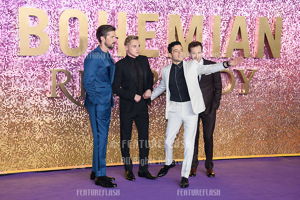 "LONDON, UK. October 23, 2018: Gwilym Lee, Ben Hardy, Rami Malek & Joe Mazzello at the world premiere of ""Bohemian Rhapsody"" at Wembley Arena, London.<br /> Picture: Steve Vas/Featureflash"