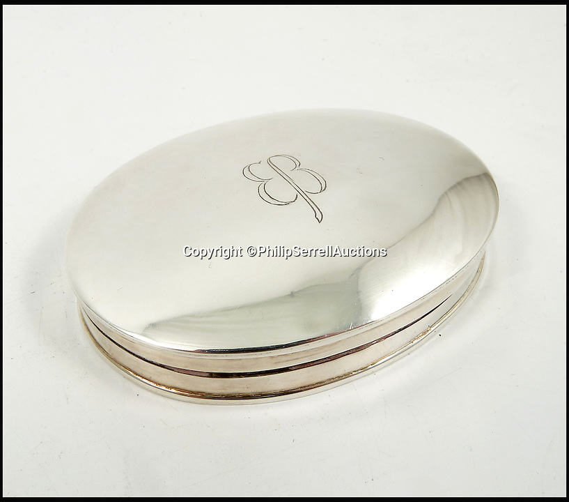 BNPS.co.uk (01202 558833)<br /> Pic: PhilipSerrellAuctions/BNPS<br /> <br /> German silver oval dressing table box, engraved with EB sold for &pound;425.<br /> <br /> A pair of silk frilly knickers worn by Adolf Hitler's mistress Eva Braun for the Nazi dictator have sold at auction for almost &pound;3,500.<br /> <br /> The pair of lilac undies, that have Braun's monogrammed initials embroidered on the front of them, got pulses racing when they went under the hammer. <br /> <br /> The Nazi swas-knickers were liberated by an American serviceman who found them in an abandoned bunker in the Platterhof Hotel next to Hitler's Berghof home in the Bavarian Alps.<br /> <br /> The soldier kept them as a souvenir and took them back to the US with him after the Second World War.