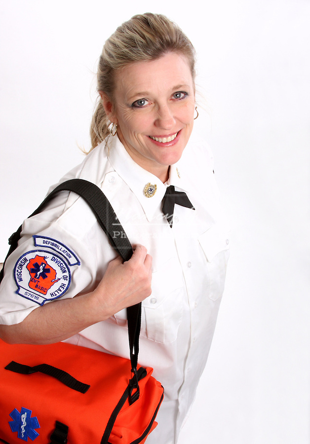 A Wisconsin EMT with a medical bag