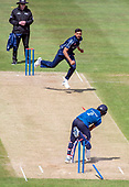 Issued by Cricket Scotland - Scotland V Sri Lanka 2nd One Day International at Grange CC, Edinburgh - Scotlands Safyaan Sharif removes the stumps of Sri Lanka bat Kasul Mendis, for 66 - picture by Donald MacLeod - 21.05.19 - 07702 319 738 - clanmacleod@btinternet.com - www.donald-macleod.com