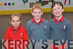 Pupils at Holy Cross Mercy National School  in Killarney celebrating their achievement of becoming the first Kerry school to raise an active flag. .L-R Magdalena Weglarz, Cian McMahon and Jason Lee