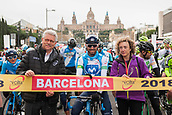 25th March 2018, Barcelona Spain; Volta a Catalunya 2018 Cycling, Stage 7; Alejando Valverde of Movistar Team and Ruben Peris preisdent of La Volta before the Start in Av Maria Cristina Barcelona