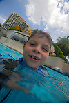Kids having fun at the Marriott World Center hotel pool in Orlando, Florida