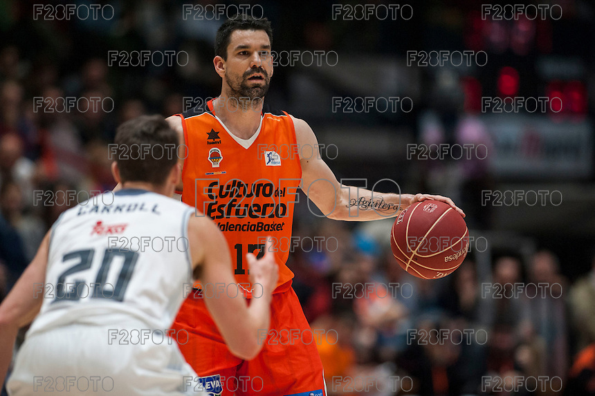 VALENCIA, SPAIN - FEBRUARY 28: Jaycee Carroll, Rafa Martinez during ENDESA LEAGUE match between Valencia Basket Club and Real Madrid at Fonteta Stadium on   February, 2016 in Valencia, Spain