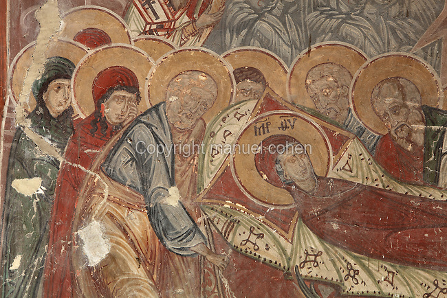 Fresco of the Dormition of the Virgin, painted c. 1649, in the Church of Saints Constantine and Helen, built 1644, inside Berat Castle or Kalaja e Beratit, in Berat, South-Central Albania, capital of the District of Berat and the County of Berat. Picture by Manuel Cohen