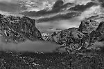 "The Tunnel View of Yosemite Valley was made famous by Ansel Adams' ""Clearing Winter Storm, Yosemite Valley, California"" taken in 1944."