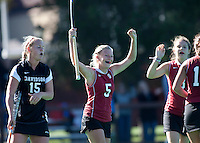 STANFORD, CA -- November 4, 2011: Courtney Haldeman celebrates during the Stanford vs. Davidson on the second day of 2011 NorPac Championship Friday on the Varsity Turf at Stanford.<br /> <br /> The Cardinal defeated the Wildcats 7-2.