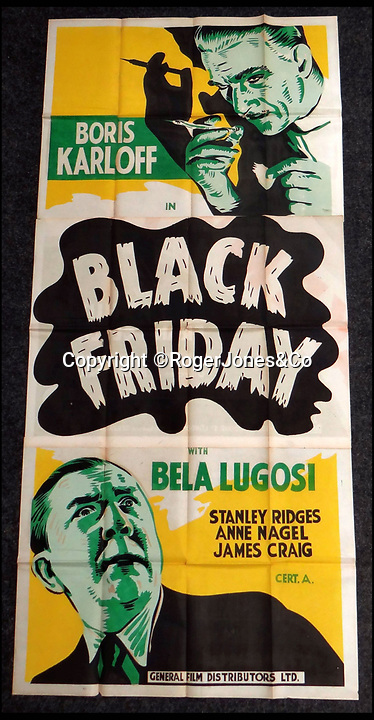 BNPS.co.uk (01202 558833)<br /> Pic: RogerJones&Co/BNPS<br /> <br /> 1940 poster for Black Friday starring Boris Karloff and Bela Lugosi.<br /> <br /> A rare collection of 1930s and 40s cinema posters discovered by two builders after they were used as carpet underlay have emerged for sale.<br /> <br /> The classic Hollywood movie posters are from the halcyon days of cinema and include well known names such as Alfred Hitchcock, Sir Laurence Olivier and John Wayne.<br /> <br /> The near pristine posters, which measure up to 7ft 2in by 6ft 5in, include some titles which have never been seen at auction before.<br /> <br /> Auctioneers Rogers Jones & Co say it is difficult to predict what the posters will sell for as no comparisons have ever come to market but the collection of about 120 posters could fetch thousands.<br /> <br /> The posters will be sold on September 15 at the Cardiff saleroom.