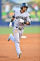 Augusta GreenJackets center fielder Jose Layer (22) rounds the bases after hitting a home run during a game against the Asheville Tourists at McCormick Field on April 6, 2019 in Asheville, North Carolina. The Tourists defeated the GreenJackets 6-3. (Tony Farlow/Four Seam Images)