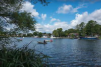 Walton, Great Britain,  Two Lane,  &quot;Stake Boats Moored&quot;, Walton Reach Regatta, Walton on Thames, Skiff and Punting Regatta  <br /> <br /> Saturday  19/08/2017<br /> <br /> [Mandatory Credit. Peter Spurrier/Intersport Images] River Thames .......... Summer, Sport, Sunny, Bright, Blue Skies, Skilful,