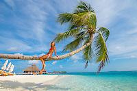Maldives, Rangali Island. Conrad Hilton Resort. Woman in palm tree at the white sand beach. (MR)