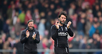 Lincoln City's assistant manager Nicky Cowley, left, and Lincoln City manager Danny Cowley applaud the fans at the final whistle<br /> <br /> Photographer Chris Vaughan/CameraSport<br /> <br /> The EFL Sky Bet League Two - Lincoln City v Macclesfield Town - Saturday 30th March 2019 - Sincil Bank - Lincoln<br /> <br /> World Copyright © 2019 CameraSport. All rights reserved. 43 Linden Ave. Countesthorpe. Leicester. England. LE8 5PG - Tel: +44 (0) 116 277 4147 - admin@camerasport.com - www.camerasport.com
