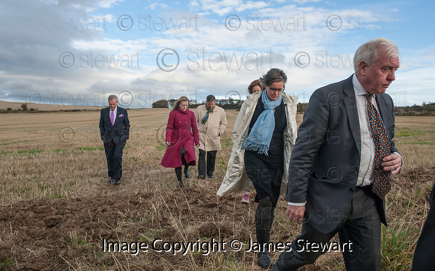 Lord Matthews (right), Defence Council Ian Duguid (left), Lord Advocat Frank Mulholland (3rd left) and members of the defence and prosecution teams leave the Deposition Site at Huntington / Coates Road where the body of Helen Scott was found. <br /> <br />    <br /> Angus Sinclair is on trial accused of murdering two teenagers, Helen Scott and Christine Eadie, who were last seen on a night out at the World's End pub on Edinburgh's Royal Mile Edinburgh in October 1977.