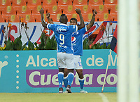 MEDELLÍN -COLOMBIA-08-07-2017: Harold Santiago Mosquera (#13) jugador de Millonarios celebra después de anotar un gol a Independiente Medellín durante el partido entre Independiente Medellín y Millonarios por los fecha 1 de la Liga Águila II 2017  jugado en el estadio Atanasio Girardot de la ciudad de Medellín. / Harold Santiago Mosquera (#13) player of Millonarios celebrates after scoring a goal to Independiente Medellin during match between Independiente Medellin and Millonarios for the date 1 of the Aguila League II 2017 played at Atanasio Girardot stadium in Medellin city. Photo: VizzorImage/ León Monsalve / Cont