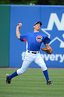 Outfielder Caleb Potter (17) of Mentor High School in Mentor, Ohio playing for the Chicago Cubs scout team during the East Coast Pro Showcase on August 2, 2013 at NBT Bank Stadium in Syracuse, New York.  (Mike Janes/Four Seam Images)