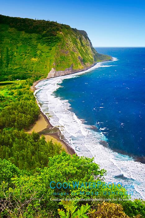 Waipio or Waipi`o Valley, Big Island, Hawaii, Pacific Ocean.