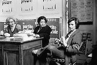 - reunion for the abortion in the center of the radical Party with Adele Faccio (on the left) and Emma Bonino (to right) (Milan, 1975)....- riunione per l'aborto nella sede del Partito Radicale con Adele Faccio (a sinistra) ed Emma Bonino (a destra) (Milano, 1975)