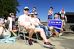 Logan, Jake and Eli, no last names given, center, wait in line before a campaign stop and rally by Republican Presidential Candidate Donald Trump in Lynden, Washington at the Northwest Washington Fairgrounds Saturday May 7, 2016. Photo by Daniel Berman/www.bermanphotos.com