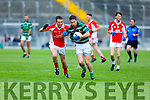 David O'Callaghan been put under pressure from West Kerry's Gearóid O'Shea v St Brendans qualifier game in the Senior Football Championship game on Sunday.