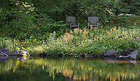 Dappled sunlight at edge of pond with chairs in woodland garden, environmentally-responsible, native plant sustainable garden, Mt Cuba Center Delaware