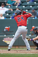 Tyler Hill (24) of the Salem Red Sox at bat against the Winston-Salem Dash at BB&T Ballpark on April 22, 2018 in Winston-Salem, North Carolina.  The Red Sox defeated the Dash 6-4 in 10 innings.  (Brian Westerholt/Four Seam Images)