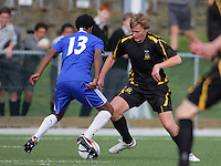 Action from the Wellington Schools Football premier match between Wellington College and St Pats Town at Wellington College, Wellington, New Zealand on Saturday, 19 May 2012. Photo: Dave Lintott / lintottphoto.co.nz