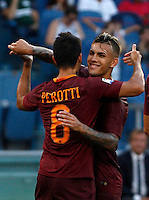 Calcio, Serie A: Roma vs Udinese. Roma, stadio Olimpico, 20 agosto 2016.<br /> Roma&rsquo;s Diego Perotti, left, celebrates with teammate Leandro Paredes after scoring his second goal on a penalty kick during the Italian Serie A football match between Roma and Udinese at Rome's Olympic Stadium, 20 August 2016. Roma won 4-0.<br /> UPDATE IMAGES PRESS/Riccardo De Luca