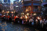 People worshiping Ganges at Kumb Mela on 13th February 2010. Haridwar, Uttara Khand, India, Arindam Mukherjee