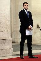 Matteo Renzi <br /> Roma 27-02-2014 Palazzo Chigi. Il Presidente del Consiglio incontra il Presidente del Parlamento Europeo.<br /> Italian Premier meets the President of the european Parliament<br /> Photo Samantha Zucchi Insidefoto